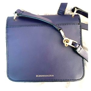 Navy leather BCBG crossbody handbag